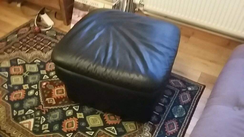 Black Leather foot rest seat