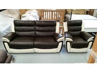 NEW ScS FIESTA LEATHER DARK BROWN/CREAM 3 SEATER ELEC RECLINER SOFA & ELEC RECLINER ARMCHAIR CAN/DEL