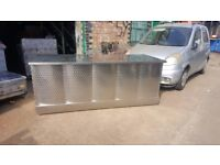 TAKEAWAY TABLE STAINLESS STEEL WORK TOP WITH SHELVES UNDER TABLE ON WHEELS 2.19M