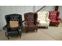 REDUCED TO CLEAR BANKRUPT STOCK BRAND NEW PU BONDED FAUX LEATHER CHESTERFIELD WINGED BACK CHAIR