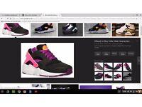 Nike Air Huraches Black Purple White and Peachy Orange