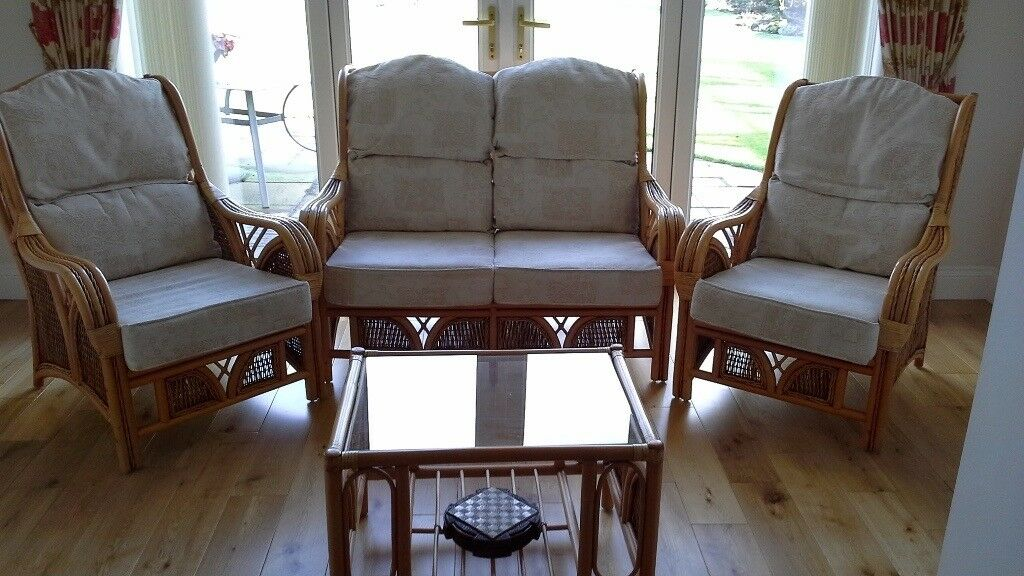 Conservatory Four Piece Suite One Two Seater Sofa Chairs And Coffee