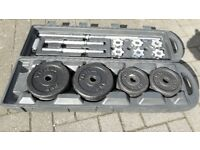 YORK 50KG BLACK CAST IRON BARBELL / DUMBBELL WEIGHTS SET IN CASE