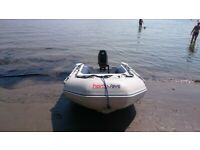 INFLATABLE DINGHY HONWAVE 270 WITH OUTBOARD MOTOR , DINGY TENDER RIB BOAT