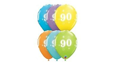 90th Birthday Party Decorations (90th 6ct Sparkle Anniversary Balloon Qualatex 90's Birthday Party Decorations)