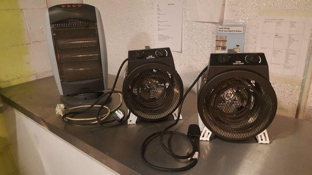 3 Portable heaters available, 2 fan, 1 halogen.