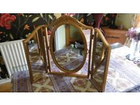 Adam style, triple dressing table mirror. Free-standing, folding and tilting. Antique gold finish.