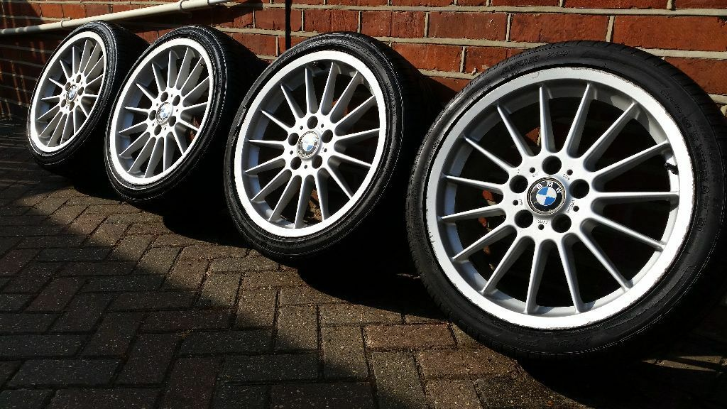 genuine staggered bmw e46 style 32 18 alloy wheels with tyres 3 series e36 m3 in. Black Bedroom Furniture Sets. Home Design Ideas