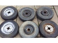 6x classic mini/trailer wheels with tyres