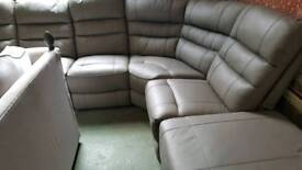 Grey real leather 5 piece corner reclining sofa