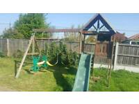 Kids playhouse slide and swing