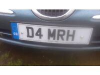 cherished number plate D 4 MRH £1600 on retention all fees paid