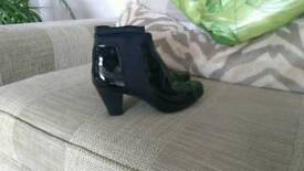 Clarks Black Patent Ankle Boots, size 7