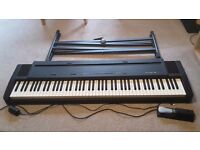 Roland keyboard with stand and sustain pedal