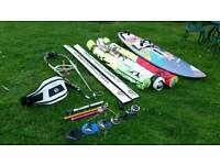 Quatro board and vandal sails. Full set up windsurfing wave sailing kit