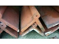 6 Roll top old style red ridge roof tiles