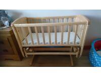 Wooden sliding swinging baby crib oak