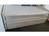 Single Cabin Bed Frame with Trundle bed - White.