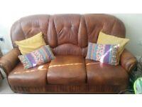 Italian leather retro 3 piece suite