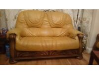 Leather Sofa Set - Solid woodenframe, drawers, Armchair, 3 seater, 2 seater