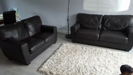 Brown leather 5 seater sofa suite