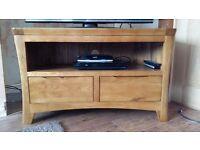 Solid Oak Corner TV Cabinet