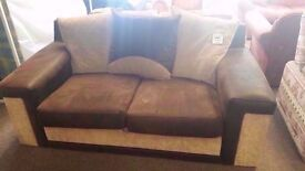 GOOD CONDITION! 2/3 seater cream and brown fabric sofa