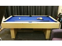 Pool table ball return, blue cover with new set of billiard balls, triangle and 1 cue