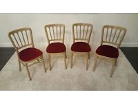 4 x Golden Banqueting Gilt Waiting Room Dining Room Chairs with Red Cushions