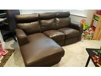 Dark brown/Chocolate leather corner sofa
