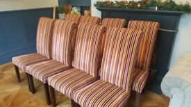 SET OF 8 VELVET STRIPEY DINING CHAIRS - EXCELLENT CONDITION and VERY HIGH QUALITY