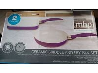 Ceramic griddle and fry pan 2 in set - NEW & sealed