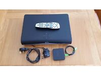 Sky plus HD box with wireless connector, leads and remote.