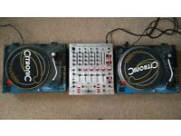 Behringer DJX700 Mixer, 2 Citronic PD-1 MK1 Direct Drive Turntables