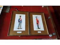 pair of antique military paintings