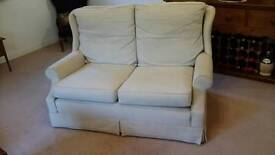 CREAM LINEN 2-SEATER SOFA - Nr WEST RUNTON / CROMER