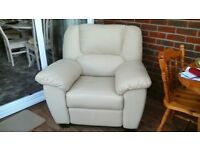 FOR SALE - Cream leather recliner armchair