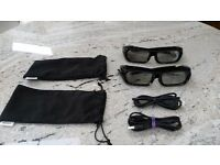 Sony TDG-BR250 3D Active Shutter Glasses – 2 pairs both in black