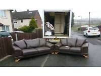 3+2 Brown seater in dear grade of leather hyde
