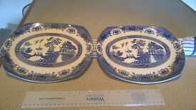 willow patern plates odd shape x2,, will be sold single or together, collection only