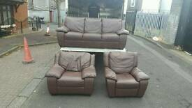 3, 1, 1 seater sofa in brown leather £275 delivered