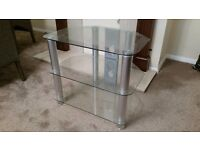 Strong Clear Glass T.V stand (like new) - Originally from littlewoods