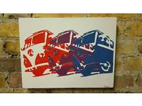 VW camper canvas - hand painted
