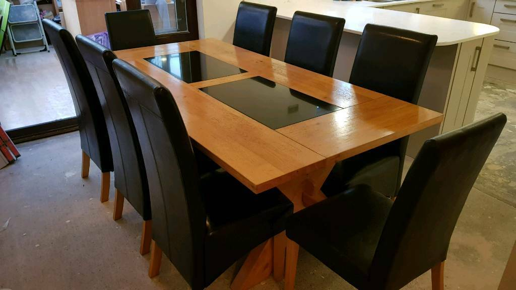 Outstanding Solid Oak Dining Table With Granite And 8 Chairs In Pencoed Bridgend Gumtree Gmtry Best Dining Table And Chair Ideas Images Gmtryco