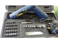 rechargeable screwdriver and bit set in case