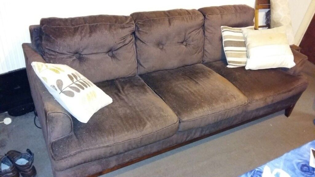 Two Modern Brown Three Seater Fabric Material Living Room Sofas With Cushions Very Good Condition