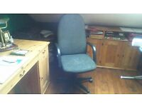 SWIVEL CHAIR..NEEDS CLEANED OR EASILY RECOVERED AS PICS SHOW