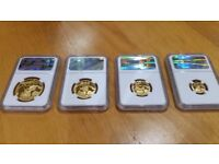 2010-EWT SOUTH AFRICA NATURA LAUNCH BLACK RHINO GOLD PROOF 4 COIN SET - Collection Only.