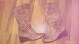 Ladies Brown Wedge Boots Size 5