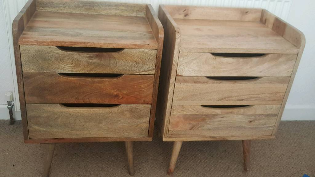 Mango Wood Bedside Tables Drawers